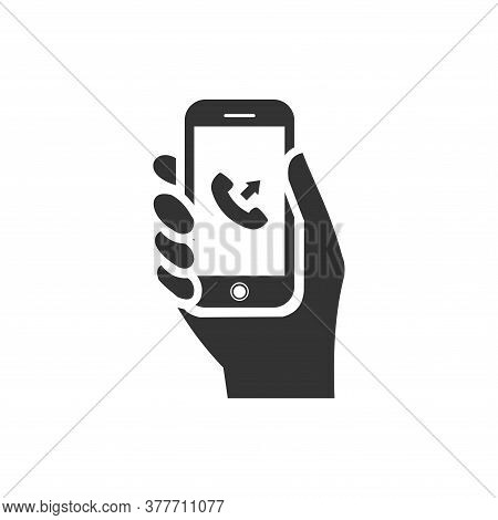 Phone In Hand Icon With Outgoing Call Icon Inside On White Background. Flat Style. Hand Holdng Smart