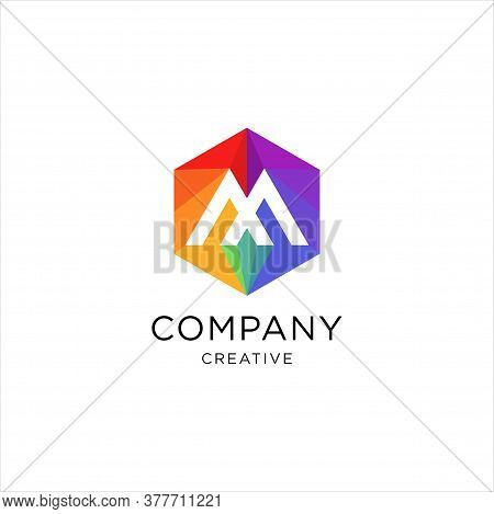 M Letter Colorful Logo In The Hexagonal. Vector Design Template Elements For Your Application Or Com
