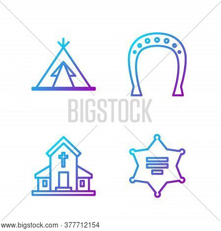 Set Line Hexagram Sheriff, Church Building, Indian Teepee Or Wigwam And Horseshoe. Gradient Color Ic