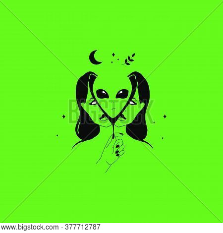 Alien In Woman. Funny Weird Abstract T Shirt Print. Vector