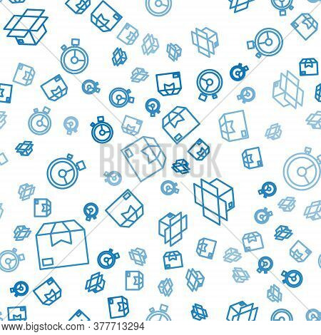 Set Line Carton Cardboard Box, Carton Cardboard Box And Fast Time Delivery On Seamless Pattern. Vect
