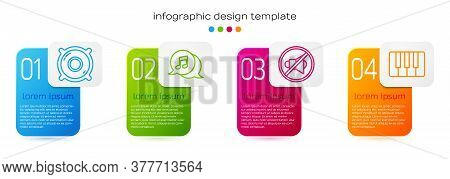 Set Line Stereo Speaker, Musical Note In Speech Bubble, Speaker Mute And Music Synthesizer. Business