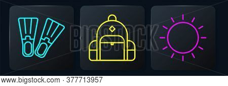 Set Line Rubber Flippers, Sun And Hiking Backpack. Black Square Button. Vector