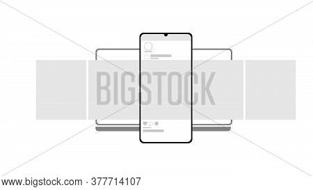 Smartphone And Notebook Mockup On White Background. Carousel Interface Post On Social Network. Minim