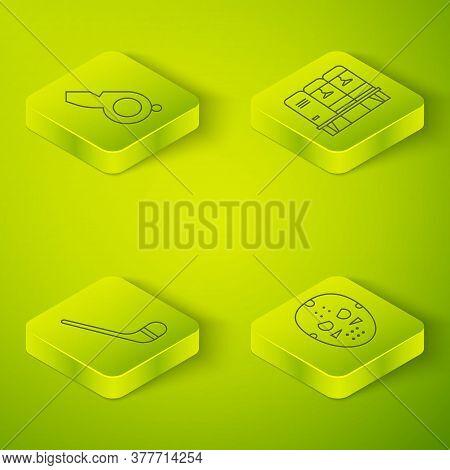 Set Isometric Locker Or Changing Room, Ice Hockey Stick, Hockey Mask And Whistle Icon. Vector