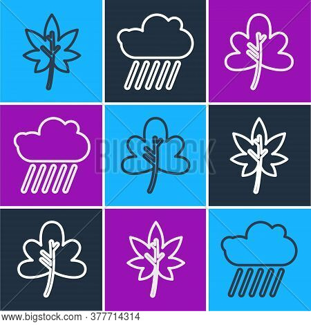 Set Line Leaf Or Leaves, Leaf Or Leaves And Cloud With Rain Icon. Vector