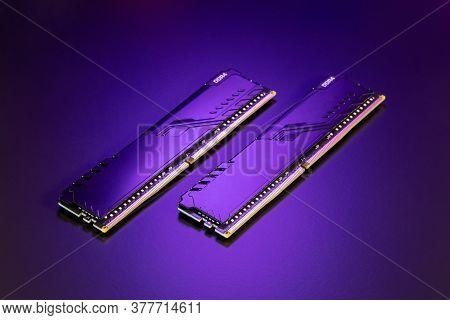 Desktop Computer Memory. Two Dimm Ddr4 Memory Modules. Parts For Assemble Pc