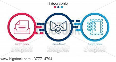 Set Line Drawer With Document, Envelope And Check Mark And Postal Stamp. Business Infographic Templa