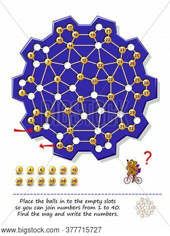 Logic Puzzle Game With Labyrinth For Children And Adults. Place Balls In Empty Slots So You Can Join