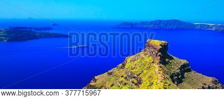 Santorini Island Famous Viewpoint Rock Of Skaros And Sea Banner Panorama, Greece