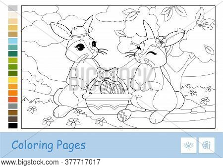 Colorless Contour Image Of Cute Couple Of Easter Rabbits With Easter Eggs In A Basket And Suggested