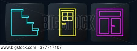 Set Line Staircase, Window In The Room And Closed Door. Black Square Button. Vector