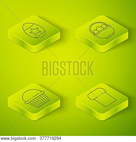 Set Isometric Basket With Easter Eggs, Easter Cake, Easter Cake And Easter Egg Icon. Vector