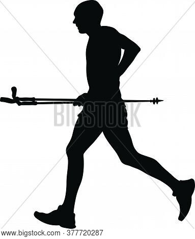 Mountain Marathon Skyrunning. Black Silhouette Man Athlete With Trekking Poles