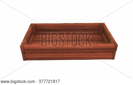 3d Render Of Opened Wooden Box Container, 3d, Render, Wicker, Wooden, Bakery, Object,