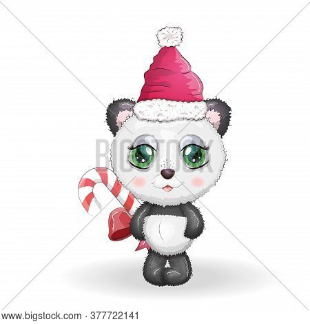 Cute Cartoon Panda Bear With Big Eyes In A Red Santa Claus Hat With A Caramel Cane. Greeting Card, N