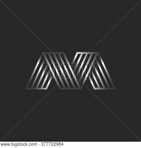 Letter M 3d Logo Creative Monogram, Initials Mv Or Vm Striped Typography Design Element, Business Ca