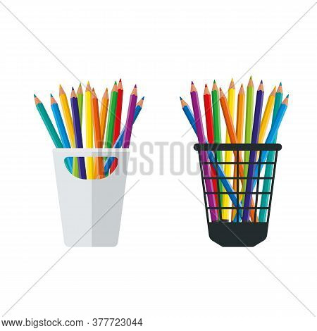 Colored Crayons In A Pencil Stand Vector Illustration