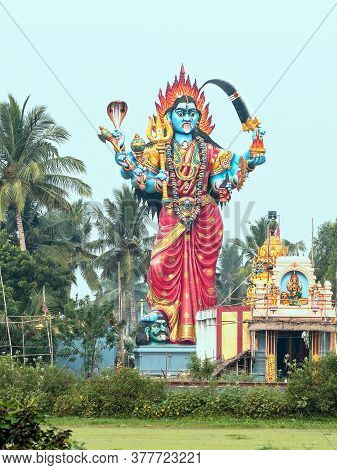 Ancient Goddess Durga Statue Of The Xiv Century Near The Eponymous Temple Not Far From Pondicherry,