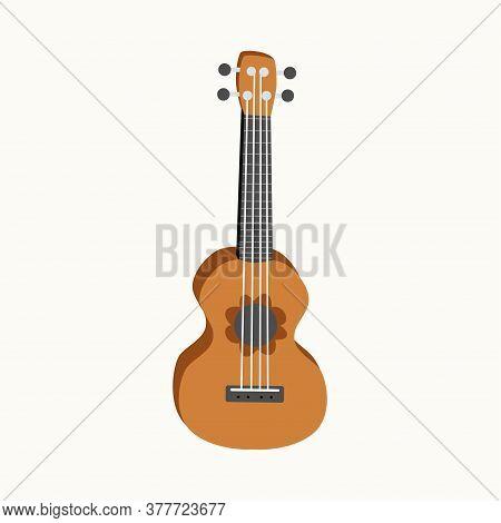 Ukulele Flat Design, Four-string Guitar Illustration On Background