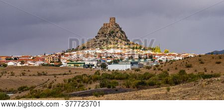 Rocky Hill With Castle In Belmez, Cordoba, Spain. Situated On The High Rocky Hill Overlooking Town O