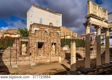 Portico Of The Municipal Forum Of Augusta Emerita In Merida, Extremadura In Spain.