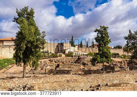Arab Fortress Alcazaba Near Guadiana River In Merida, Spain, Region Of Extremadura. Built In 836 By