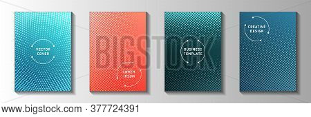 Trendy Dot Faded Screen Tone Cover Page Templates Vector Series. Urban Booklet Perforated Screen Ton