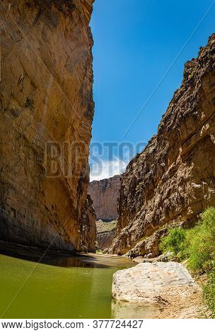 Santa Elena Canyon And The Rio Grande River At Big Bend National Park In Texas Form The Border Betwe