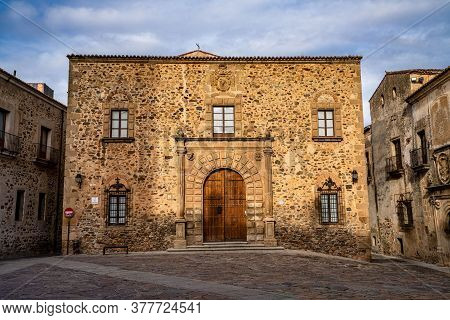 Episcopal Palace In Caceres, Extremadura, Spain. Located In Plaza Santa Maria, Main Facade, Renaissa