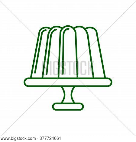 Jelly Pudding Linear Icon. Thin Line Illustration. Gelatin Dessert. Contour Symbol. Vector Isolated