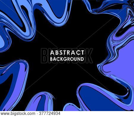 Abstract Banner With Blue Streaks On A Black Background In Vector