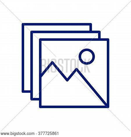 Digital Images, Photos Linear Icon. Thin Line Illustration. Pictures. Contour Symbol. Vector Isolate