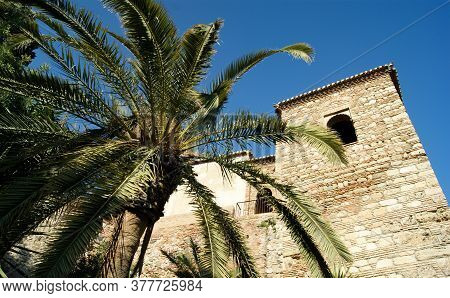 The Historic And Beautiful Alcazaba Fortress In The City Of Malaga, Andalusia.  The Walls And Towers