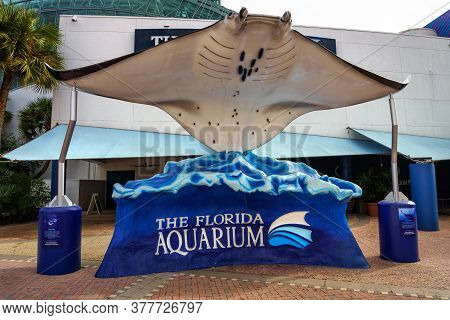 Tampa, Florida, Usa - January 11, 2020 : Larga Manta Ray Sculpture At The Entrance To The Florida Aq