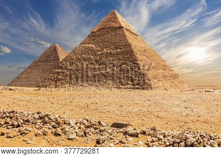 The Pyramid Of Chephren And The Pyramid Of Cheops, Giza, Egypt