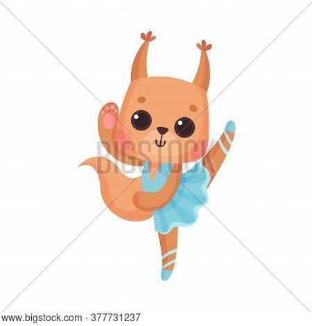 Cute Squirrel In Ballerina Dress Dancing Vector Illustration
