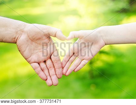 Hands On Heart-shaped. Blurred Background  Outdoors. Family Concept Child And Father Holding Hands I