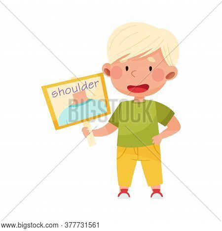 Cute Boy Character Holding Card With Shoulder Picture Vector Illustration