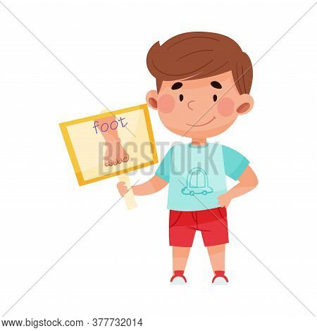 Funny Boy Character Holding Flashcard With Foot Image Vector Illustration