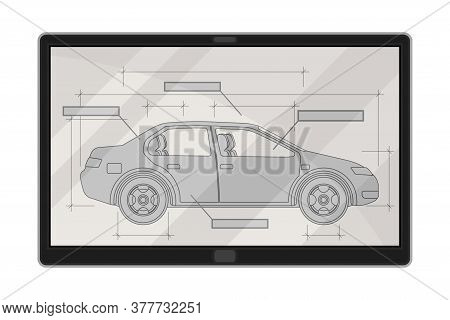 Tablet Screen With Car Design Draft As Auto Production Process Vector Illustration