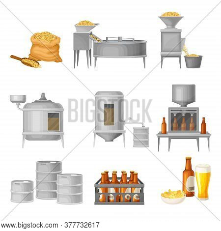 Beer Production With Cereal Grain Harvesting, Fermenting And Bottling Process Vector Illustration Se