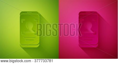 Paper Cut Mobile Phone And Face Recognition Icon Isolated On Green And Pink Background. Face Identif