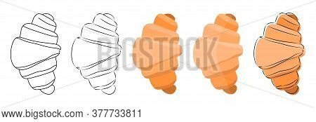 Top View Of French Croissant In Hand-drawn Sketch, Cartoon, Flat Orange And Brown Color, With Outlin