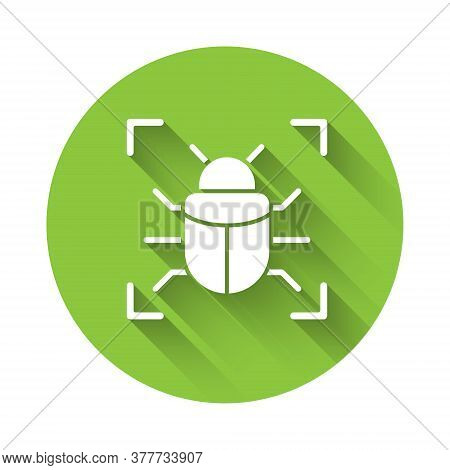 White System Bug Concept Icon Isolated With Long Shadow. Code Bug Concept. Bug In The System. Bug Se