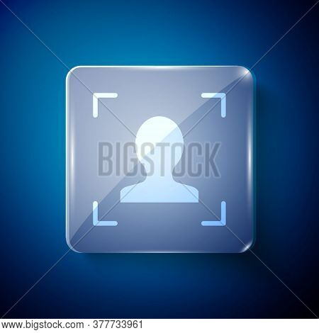 White Face Recognition Icon Isolated On Blue Background. Face Identification Scanner Icon. Facial Id