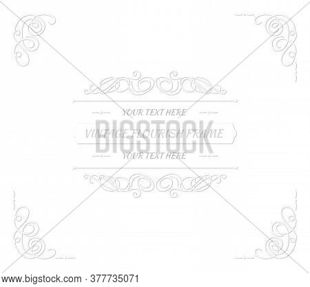 Vector Vintage Paper Art Style Frame Template, White Cutout Swirls With Shadows On White Background,