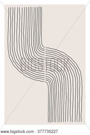 Trendy Abstract Creative Minimalist Artistic Hand Sketched Line Art Composition