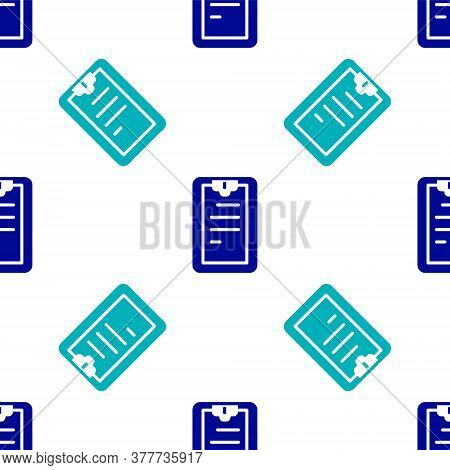 Blue Clipboard With Checklist Icon Isolated Seamless Pattern On White Background. Control List Symbo