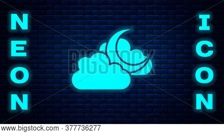Glowing Neon Cloud With Moon Icon Isolated On Brick Wall Background. Cloudy Night Sign. Sleep Dreams
